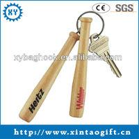 Low Price Custom Logo Engraved Wooden Keyring Wood Baseball Bat Keychain