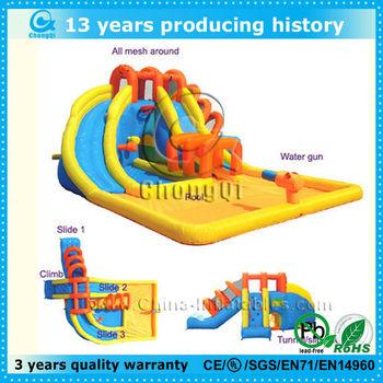 newest inflatable double splash water slide,splash island inflatable water slide,inflatable splash water slide