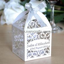 "Look! Elegant design custom made party supply ""filigree"" laser cut wedding favour boxes white"