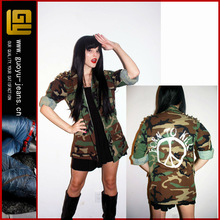full metal jacket / US army camo studded jacket / gold studded shoulders(GYW0050)