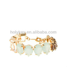 Multi Mixed natural stone bracelet, Sparking chunky chain bracelet for decoration, 2014 new arrive jewelry accessories