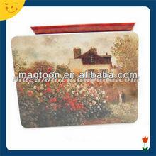 Decorational scenery printing rectangle metal fridge magnet