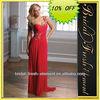 Hot Sale Long One Shoulder Sweetheart Beaded Ruffled Sexy Chiffon Design Evening Dresses