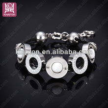 fashion 2014 leather&stainless steel China supplier fashion magnetic bracelet
