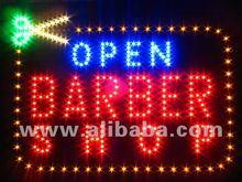 LED sign scissors barber shop open