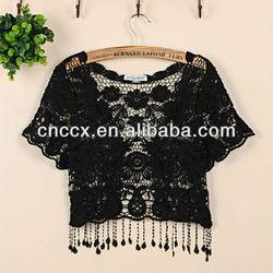 13STC5619 lace graceful lady cardigan ladies cotton crochet shrug