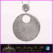 micro pave setting 925 sterling silver pendant with round board