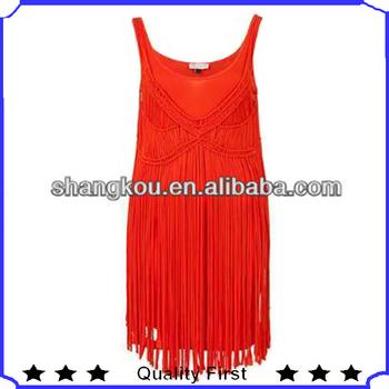 sexy spaghetti straps tassels designer red dresses .celebrity cotton dress, women fashion holiday and beach dress