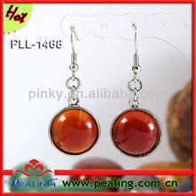 Charm Red Agate crystal Stone Round Dangle Hook Stud Earring Earrings for women