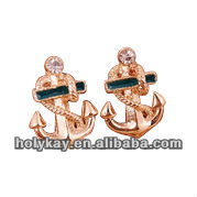Anchor designs Vintage earrings,Shiny gold plating earrings,Nice earring jewelry