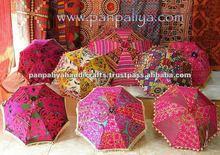 Traditional cotton Sari material Handmade indian parasols,tribal indian bohemian Colorfull embroidered umbrella