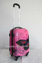 2014 popular trolley luggage butterfly printed ABS hard luggage
