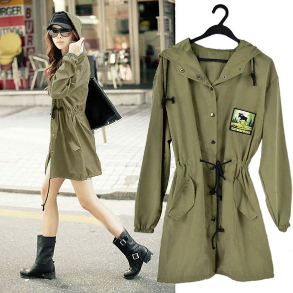Fashion Women's Loose Long Sleeve Mid-Length Long Hooded Trench Coat Outwear Thin Style 8028