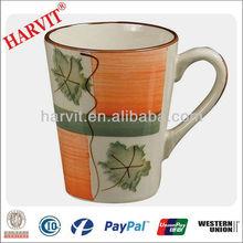 V shape handpainted 12oz ceramic stoneware drinking mug