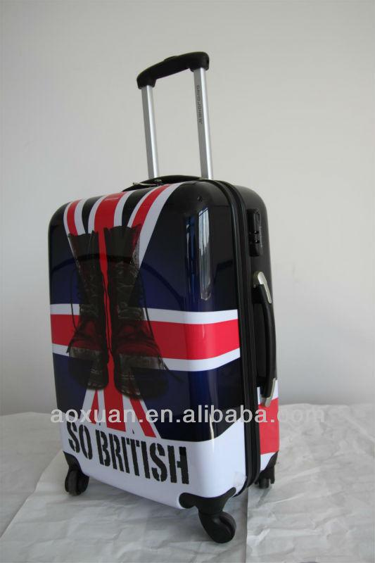 ABS print luggage abs printed hard shell luggage printed hard luggage