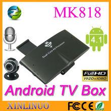 MK818 internet Dual core tv box android live tv channel box