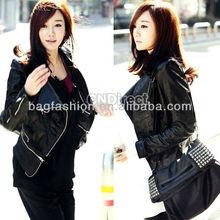 Women's Korea Fashion PU Leather Jacket Zipper Slim Coat