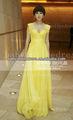bo1826 nueva llegada sexy de color amarillo de gasa mangas casquillo largo alfombra roja vestido celebridad 2013