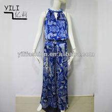 Fashion Women Jumpsuit Loose Chiffon Wide Leg Pants Maxi Jumpsuit manufactory China