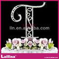 venta al por mayor de diamante de cristal de diamante de imitación del monograma carta adorno de torta de la boda decoración de aniversario