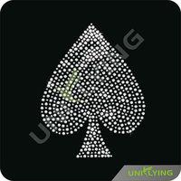 Ace of spade resin rhinestone hotfix