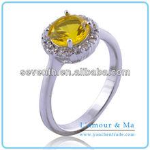 Sample Design Yellow Stone Diamond 14k White Gold Finger Ring For Girls CZ Diamond Brass Cooper Engagement/Wedding Rings