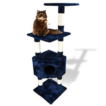 """Deluxe 53"""" Cat Tower Tree w Condo Scratcher Furniture Kitten House Navy Blue Bed"""
