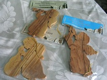 Angel Ornaments Carved Olive Wood