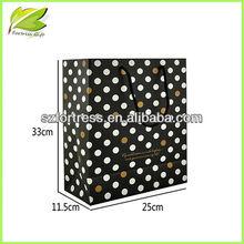 Newly idea white dot paper bag/Gloss lamination promotional shopping paper bag