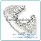 Mens Big Horse Shoe Shaped Finger Ring CZ Diamond Brass Cooper Engagement/Wedding Rings