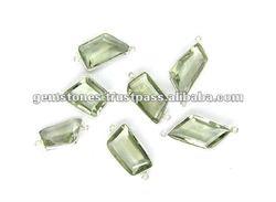 Semi Precious Bezel Connectors, Silver gemstone connector