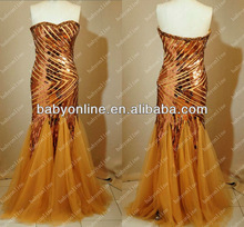 Wholesale - Free Shipping 2013 New Sexy Golden Mermaid Sweetheart Crystals Beads Sequined Tulle Zipper Back Pageant Dresses