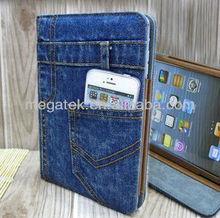 Tablet case cover Fashion Demin jeans folio leather case for ipad mini, for ipad case folio