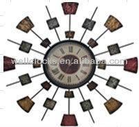 roman number retro frame art metal wall clock