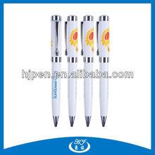 Good Quality Sunflower Printed White Metal Ball Pens With Pringting Logo