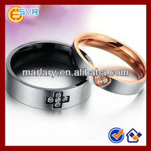 Stainless Steel Rhinestone Cross & Love Couple Ring