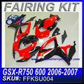 Abs carenado kit para SUZUKI GSXR 750 GSXR 600 2006 - 2007 de color rojo y negro FFKSU004
