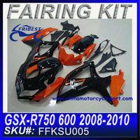 Chinese Motorcycles Fairing For SUZUKI GSX-R750 600 2008-2010 BLACK&ORANGE FKSU005