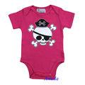 Neonato bambino halloween teschio pirata rosa caldo manica corta pagliaccetto body 0-12m