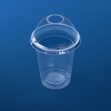 Clear plastic cup 350 ml with dome lid