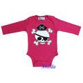 Neonato bambino halloween teschio pirata caldo rosa manica lunga pagliaccetto body 0-12m
