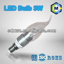 LED candle/Wax Tail light 3W bulb lamp with SMD 2835 360 degree competitive