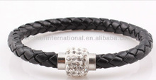 20cm charm! Mix colors/ Braided rope PU leather bracelets/ Magnetic clasp with shamballa bead bracelet!