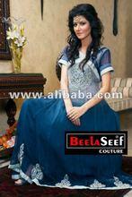 designer dress india pakistan grey blue