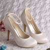 New Arrive Ankle Strap Ladies Heels Ivory For Wedding