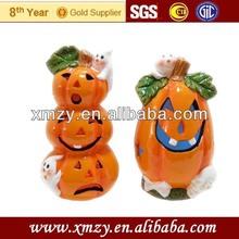 Handmade ceramic lighted halloween pumpkins