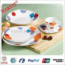 20pcs Color Porcelain Dinner Set Square/Simple Style Home Decoration/Daily Use Ceramic Dinnerware Sets