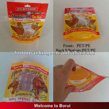 stand up pouch for chicken food/PE/PET bag with clear window