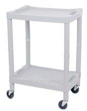 PMT-766 Hospital multi-function utility cart trolley /Plastic handle cart /double shelves trolley