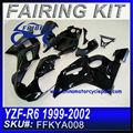 Kit carenagem da motocicleta para yamaha r6 1999-2002 todo preto brilhante